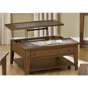 Lift Top Cocktail Table with Single Drawer and Shelf