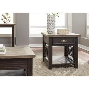 Transitional 1 Drawer End Table with Fully Stained Interior Drawer