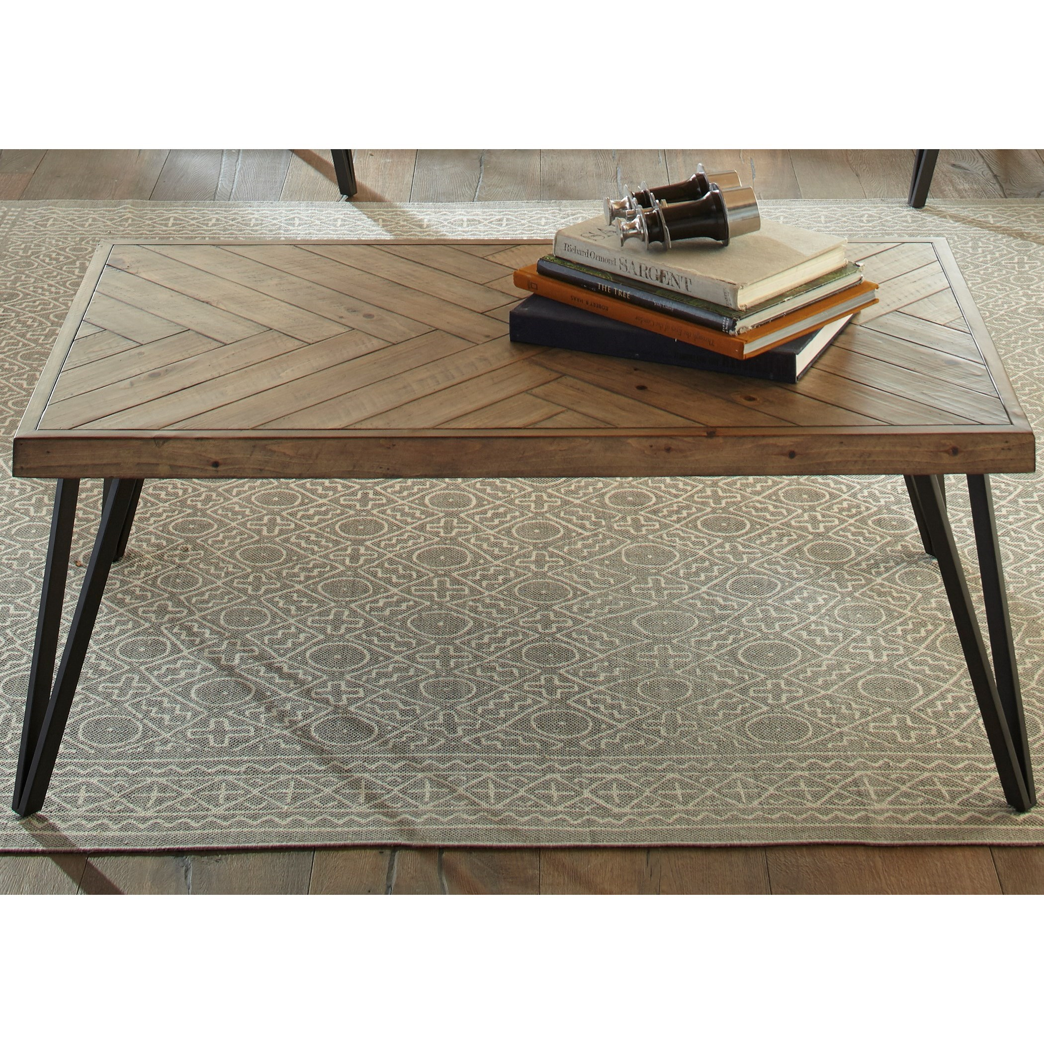 Contemporary Rectangular Cocktail Table with Herringbone Parquet