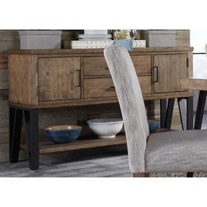 Contemporary Dining Sideboard with Bottom Shelf for Open Storage