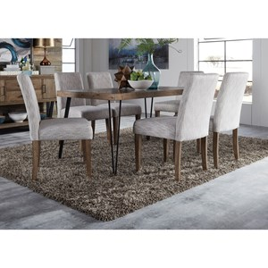 Contemporary Table and Upholstered Chair Set with Herringbone Parquet Pattern