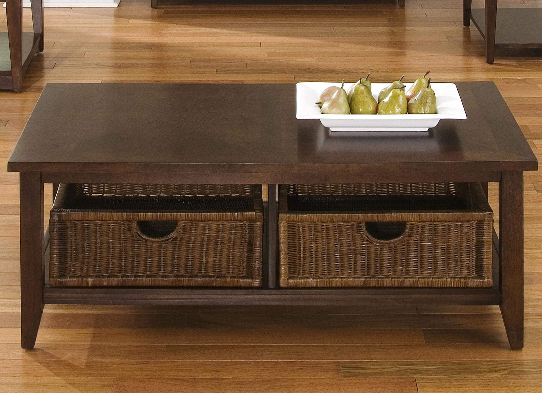 Coffee table w 2 basket drawers by liberty furniture wolf and gardiner wolf furniture Coffee table baskets