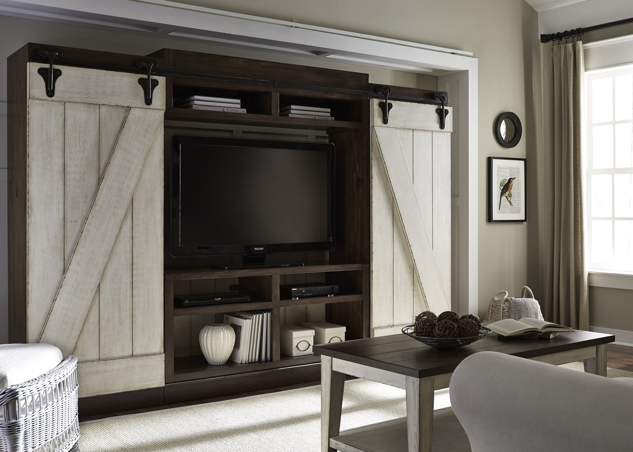 Rustic Entertainment Center With Sliding Barn Doors By
