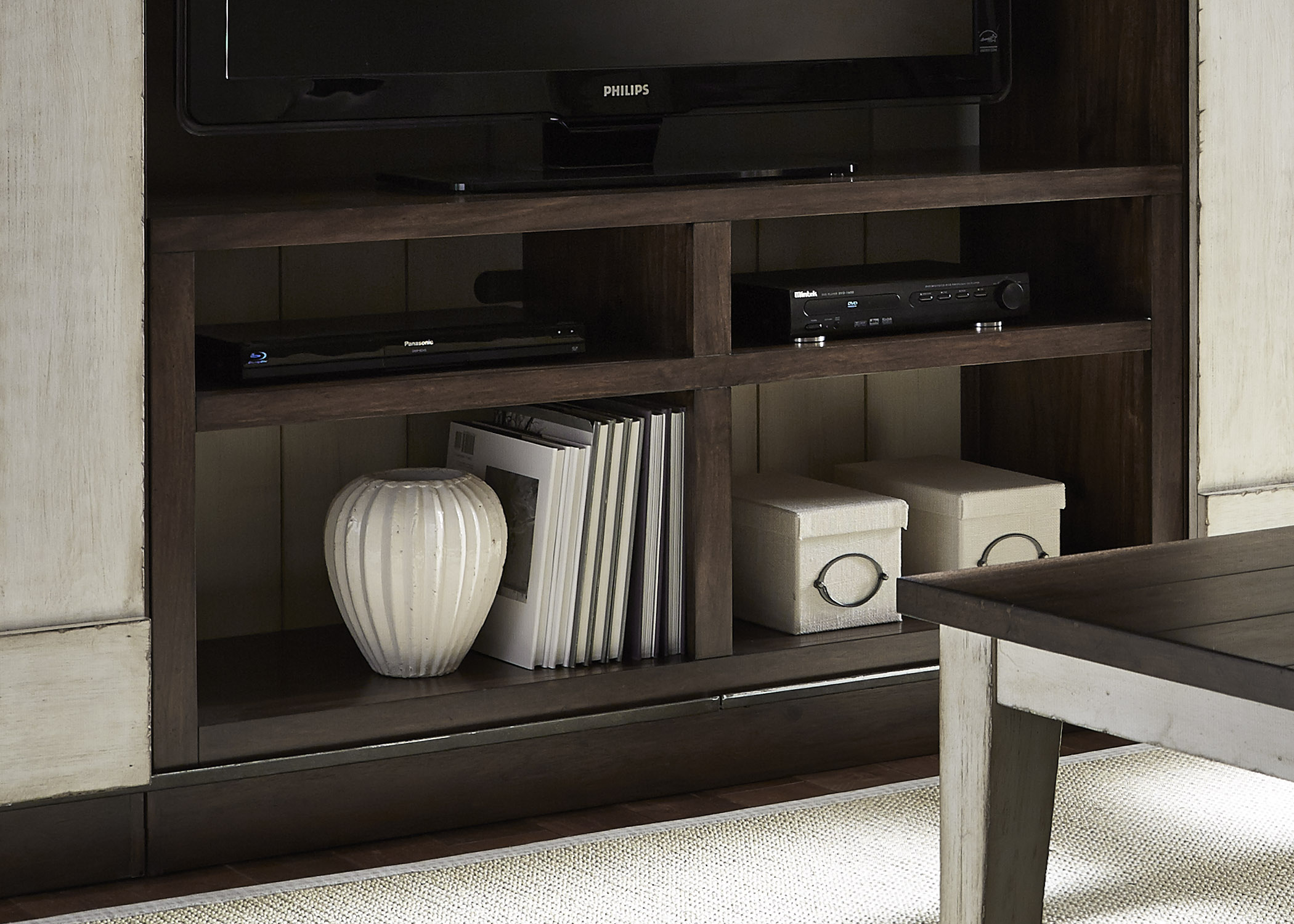 Entertainment TV Stand With Four Shelves And Wire Management