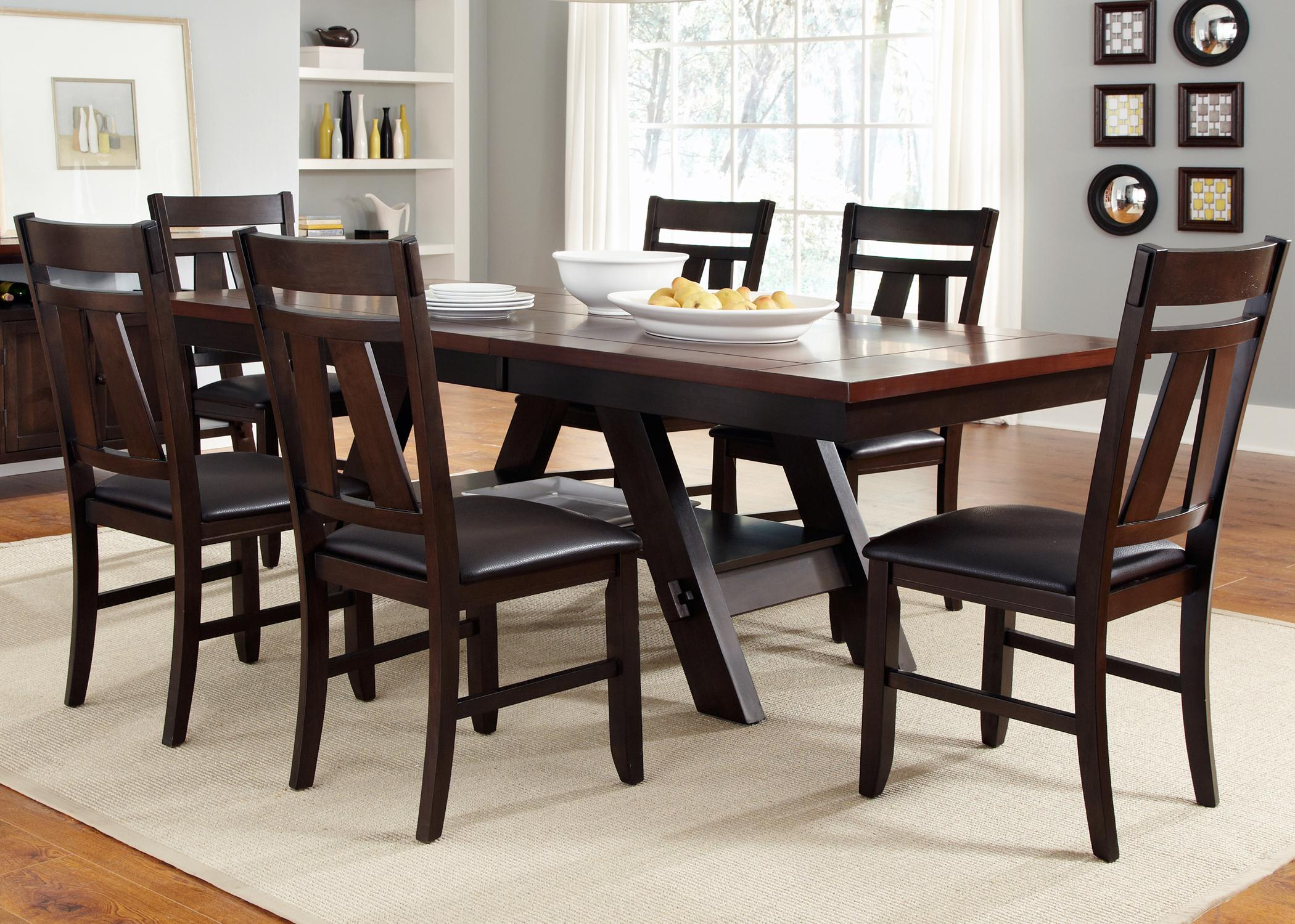 7 piece rectangular trestle table and splat back chairs set by 7 piece rectangular trestle table and splat back chairs set