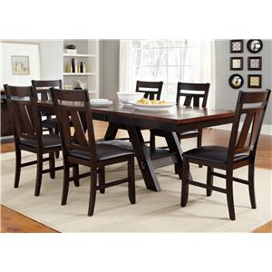 7 Piece Rectangular Trestle Table and Splat Back Chairs Set