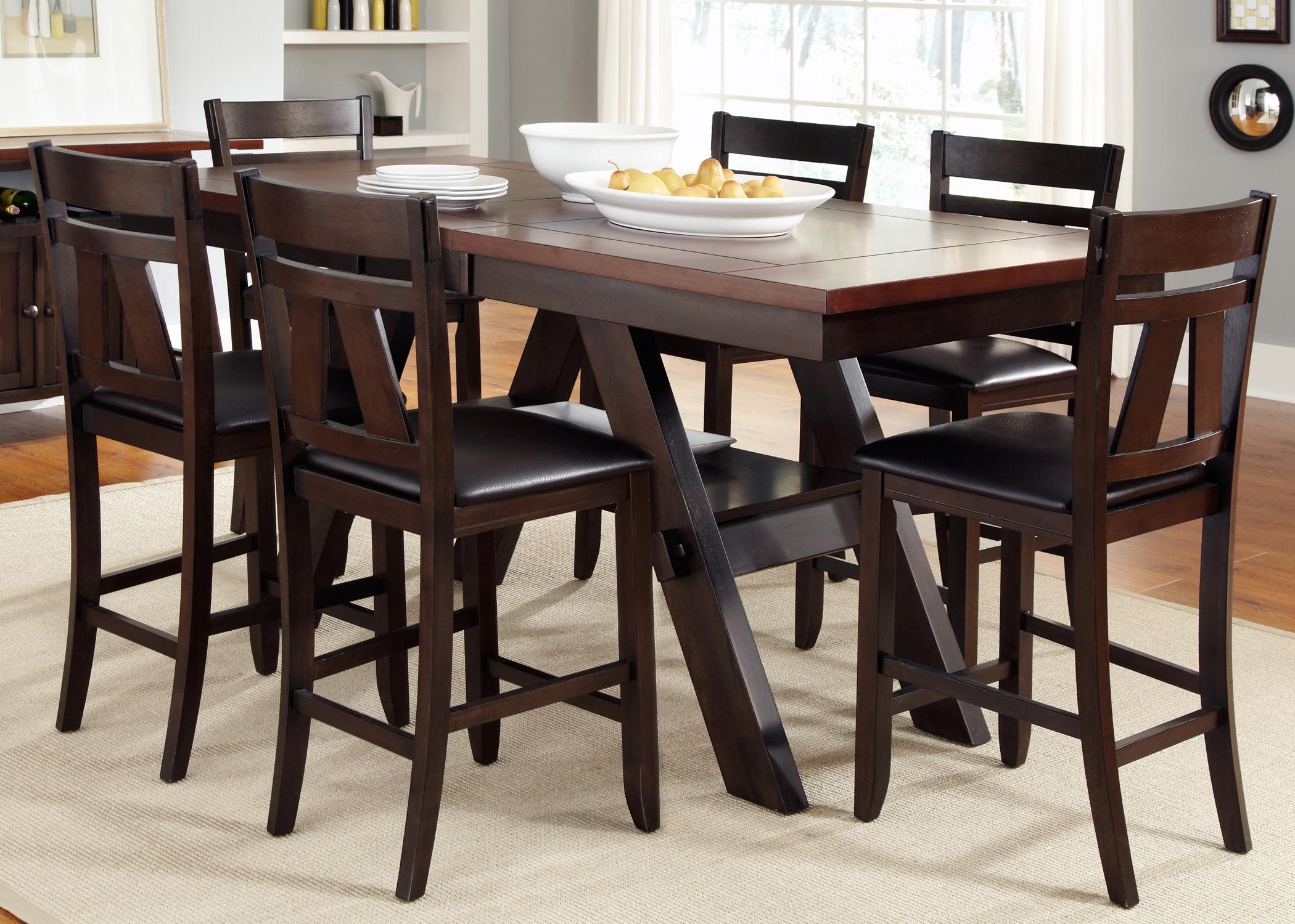 7 Piece Trestle Gathering Table With Counter Height Chairs Set