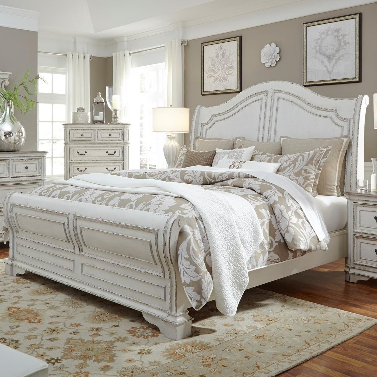 King Sleigh Bed - King Sleigh Bed With Antique White Finish By Liberty Furniture
