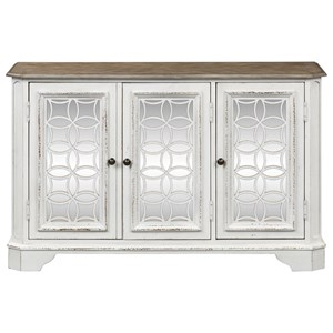 TV Console with Thee Antiqued Mirror Doors