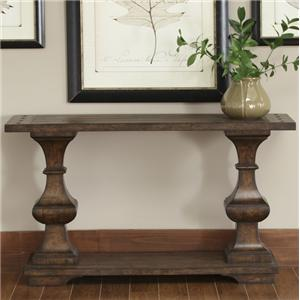 Rectangular Sofa Table with Bottom Shelf and Turned Legs