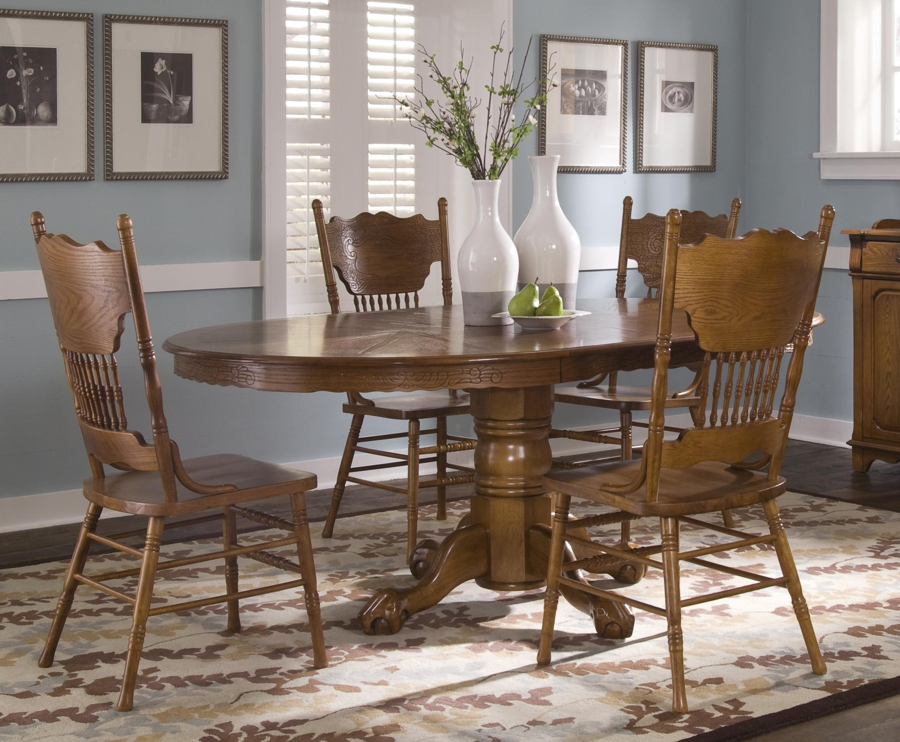 Single Pedestal Table and Side Chair Set & Single Pedestal Table and Side Chair Set by Liberty Furniture | Wolf ...