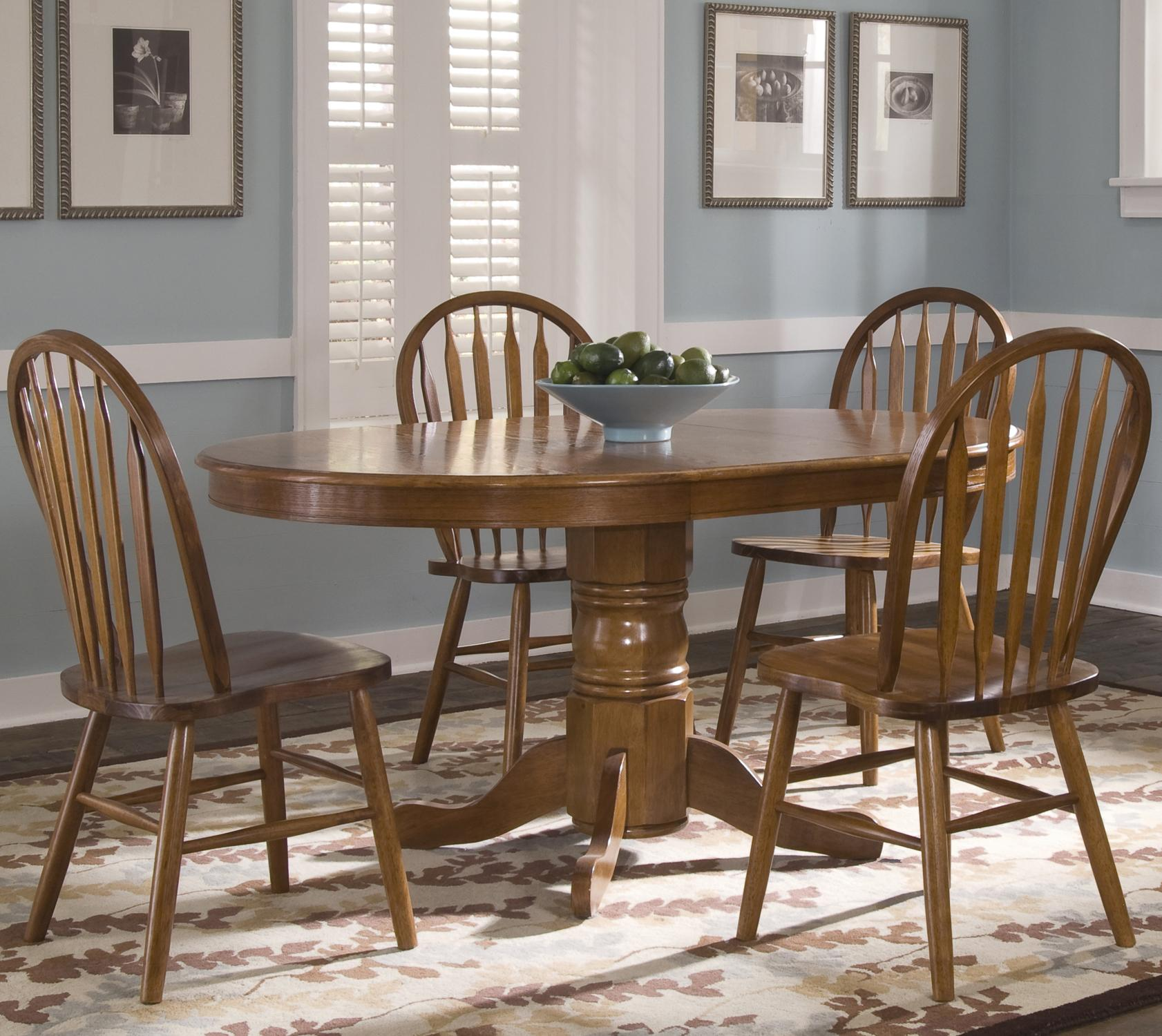 Oval Pedestal Dinner Table w/ 4 Windsor Side Chairs & Oval Pedestal Dinner Table w/ 4 Windsor Side Chairs by Liberty ...