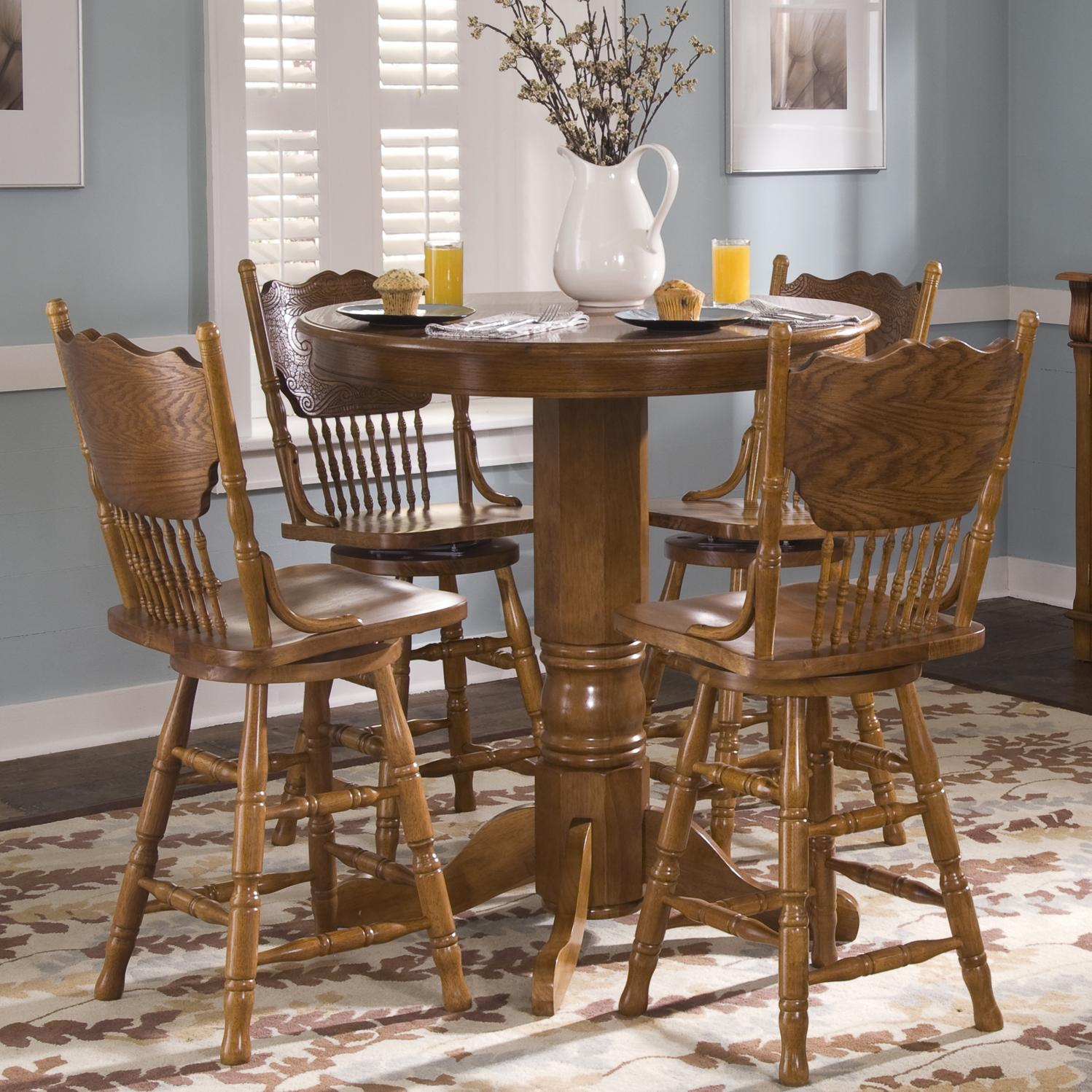 Round Oak Pub Table By Liberty Furniture Wolf Furniture