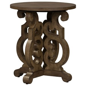 Relaxed Vintage Round End Table with Open Design
