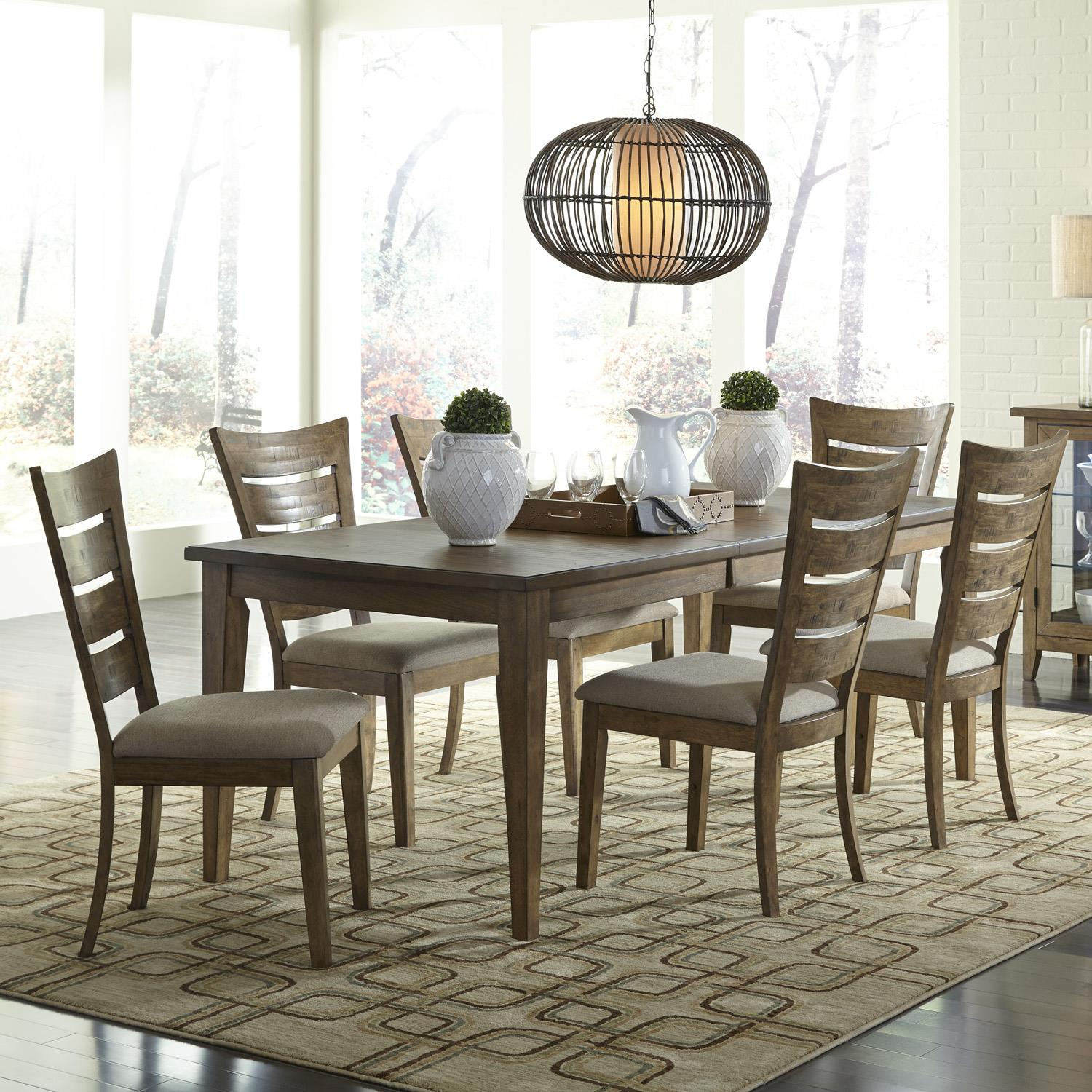 7 Piece Dining Set With Ladder Back Chairs