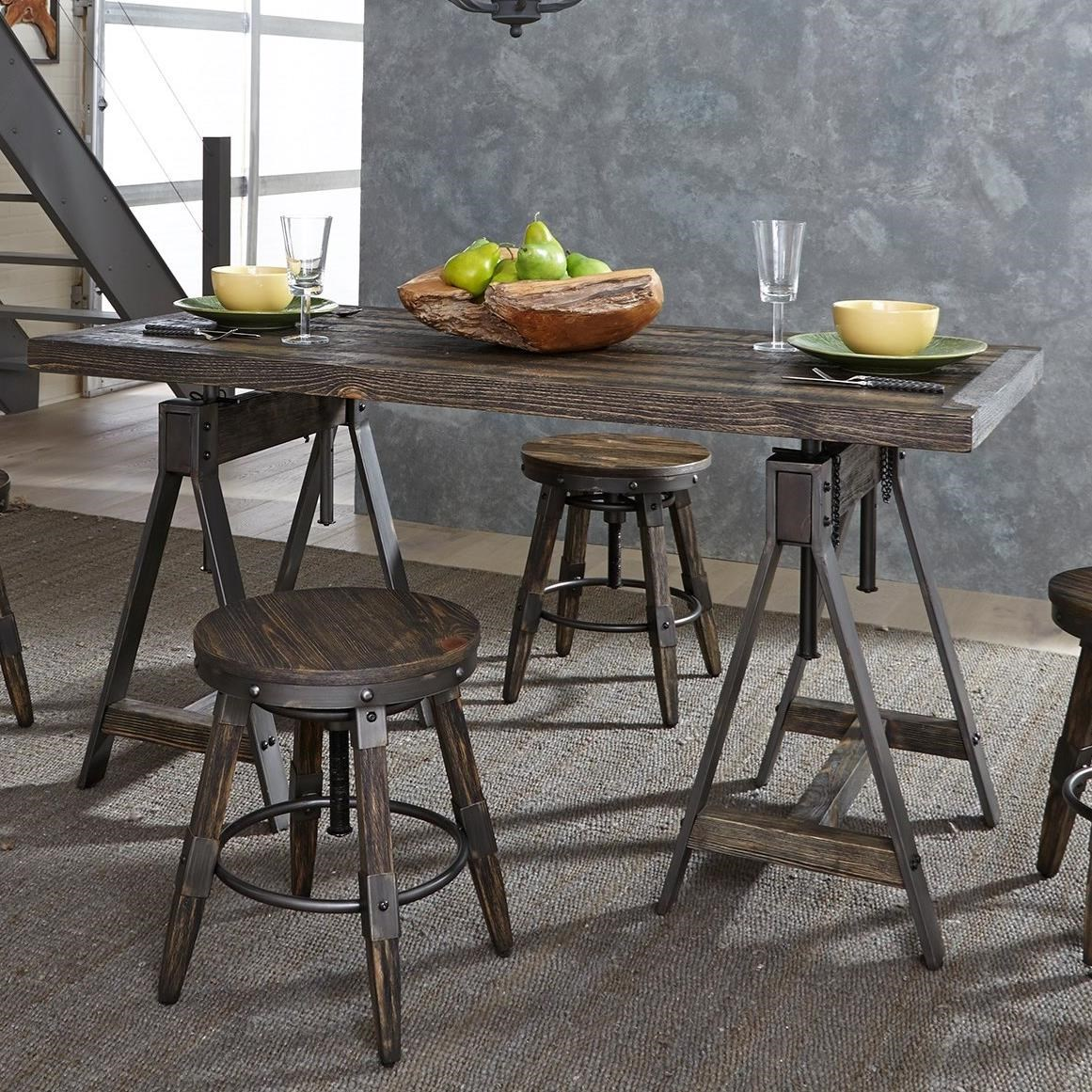 Industrial Adjustable Height Rectangular Table With Sawhorse Pedestals