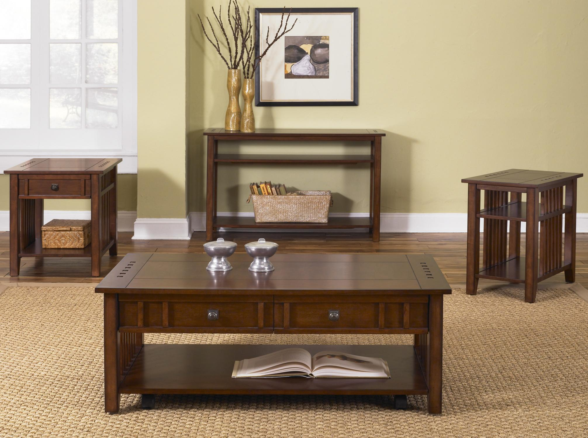 Rectangular sofa table with 2 lower shelves by liberty furniture sofa table watchthetrailerfo