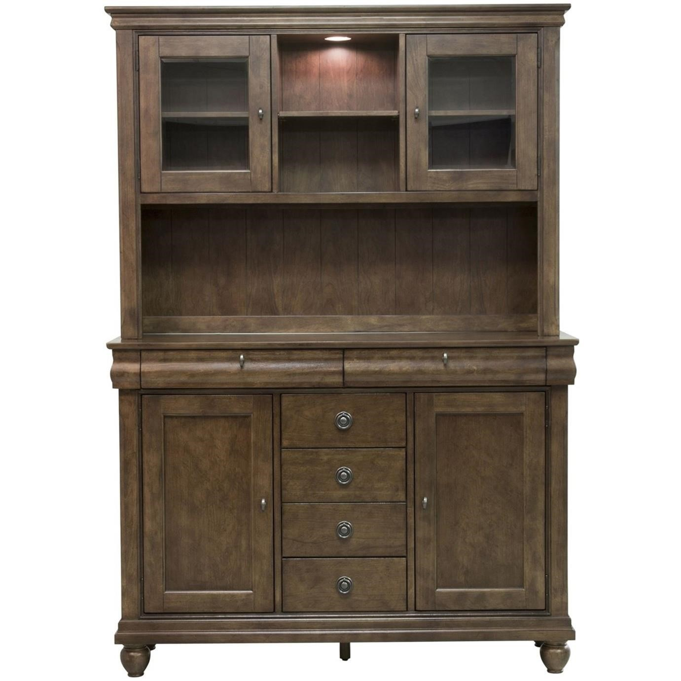 Traditional Server & Hutch with Touch Lighting