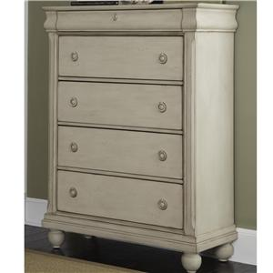 Five-Drawer Chest with Antique Brass Hardware