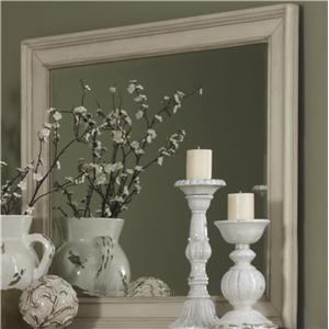 Beveled Landscape Mirror with Wood Frame