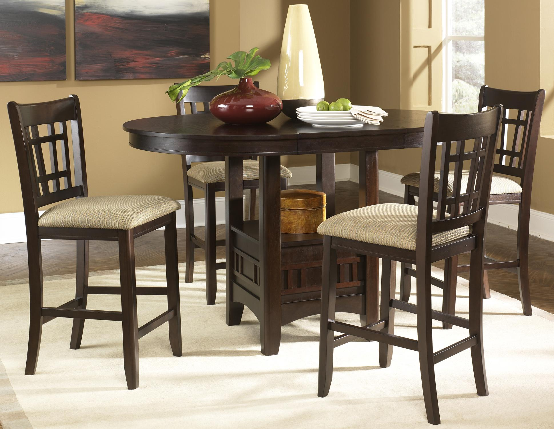 Elegant Oval Pub Table U0026 24 Inch Upholstered Bar Stool Set