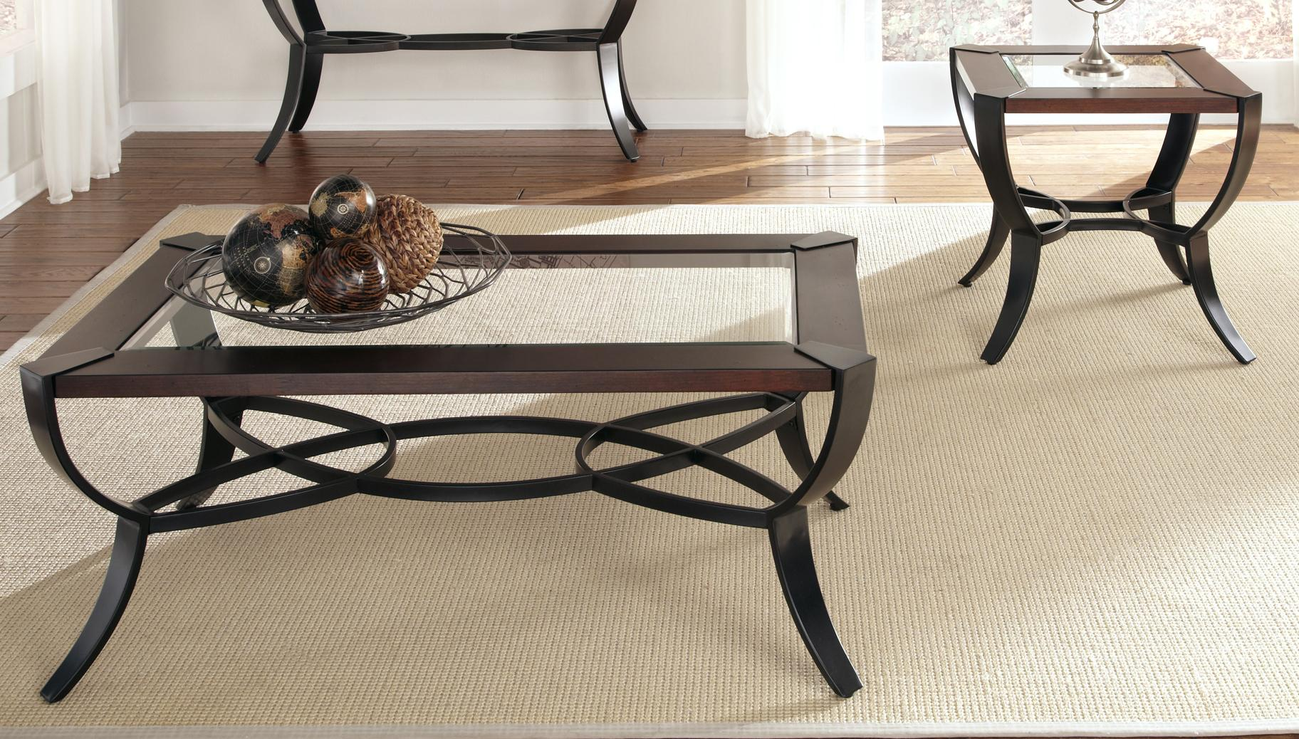 3 piece cocktail and end table set with metal base and glass top by liberty furniture wolf and Steel and glass coffee table