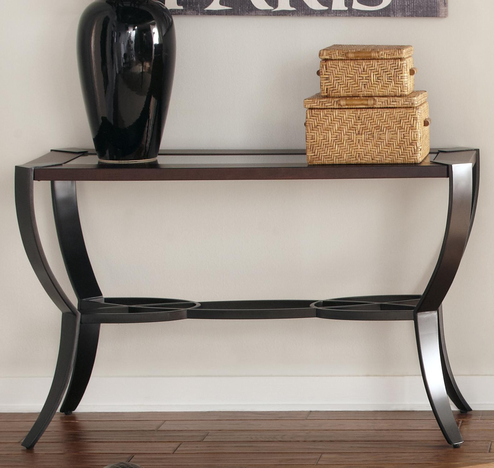 Sofa Table With Wood Framed Glass Top By Liberty Furniture Wolf  ~ Sofa Table With Glass Top