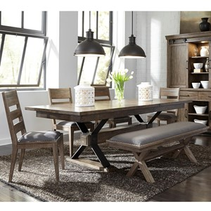 6 Piece Trestle Table and Chair Set