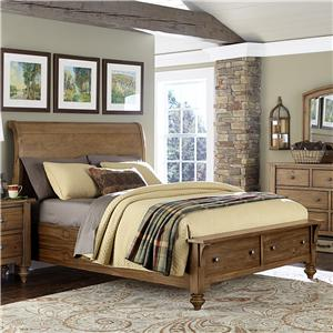 Liberty Furniture Southern Pines Queen Size Sleigh Bed with Storage