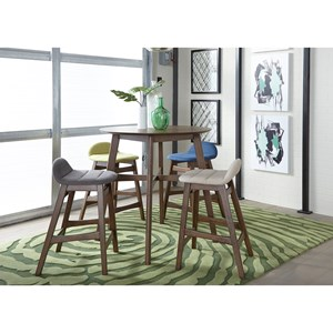Mid-Century Modern 5-Piece Gathering Table Set with Upholstered Seating