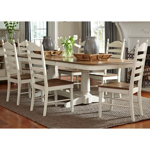 7 Piece Double Pedestal Table U0026 Chair Set