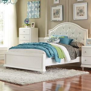 Glam Twin Panel Bed with Upholstered Headboard