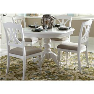 5 Piece Round Table Set with Turned Legs