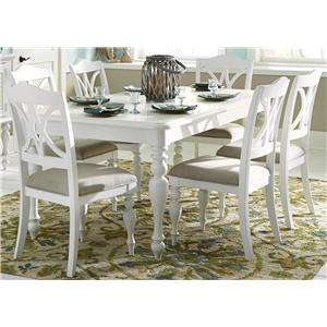 7 Piece Rectangular Table Set with Turned Legs