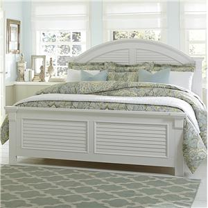 Queen Panel Bed with Louvered Accents