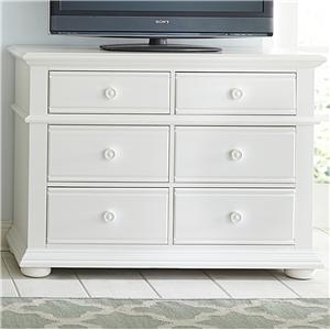 Cottage Media Chest with 6 Drawers