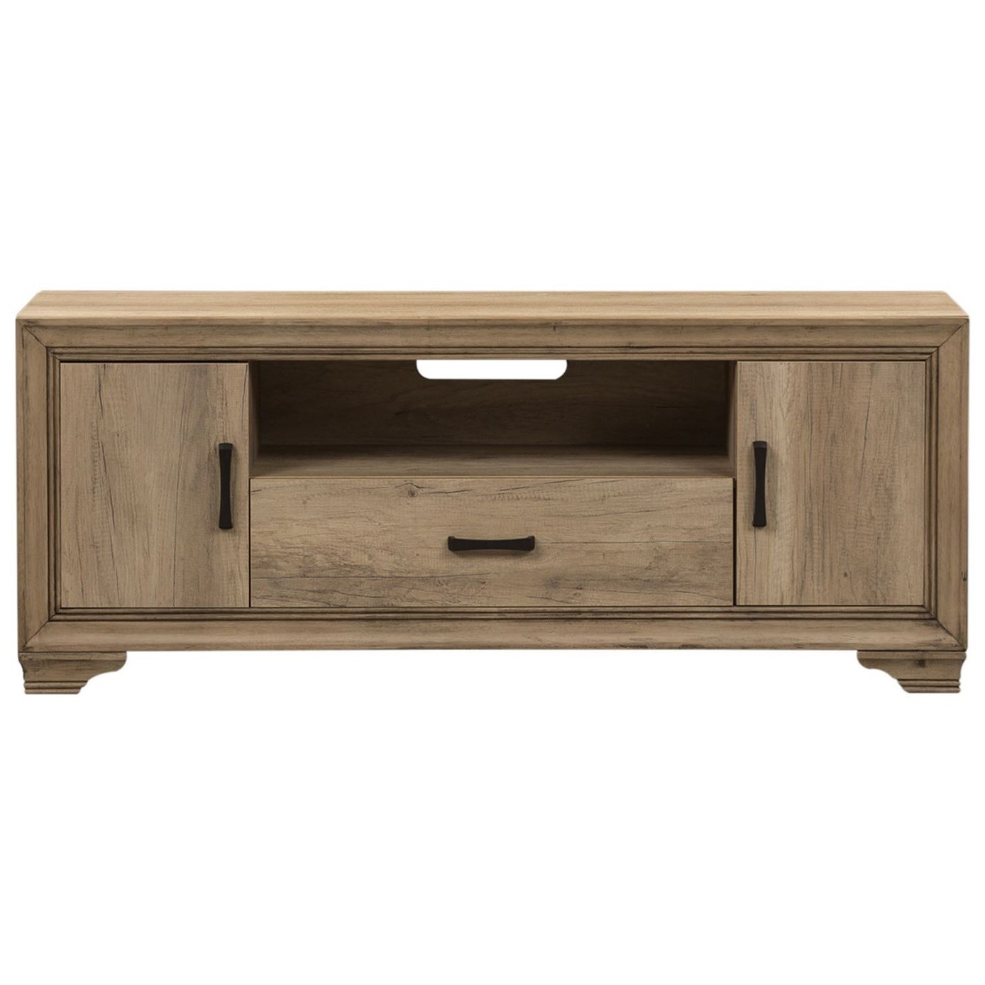 "Transitional 60"" TV Console with Adjustable Shelves"