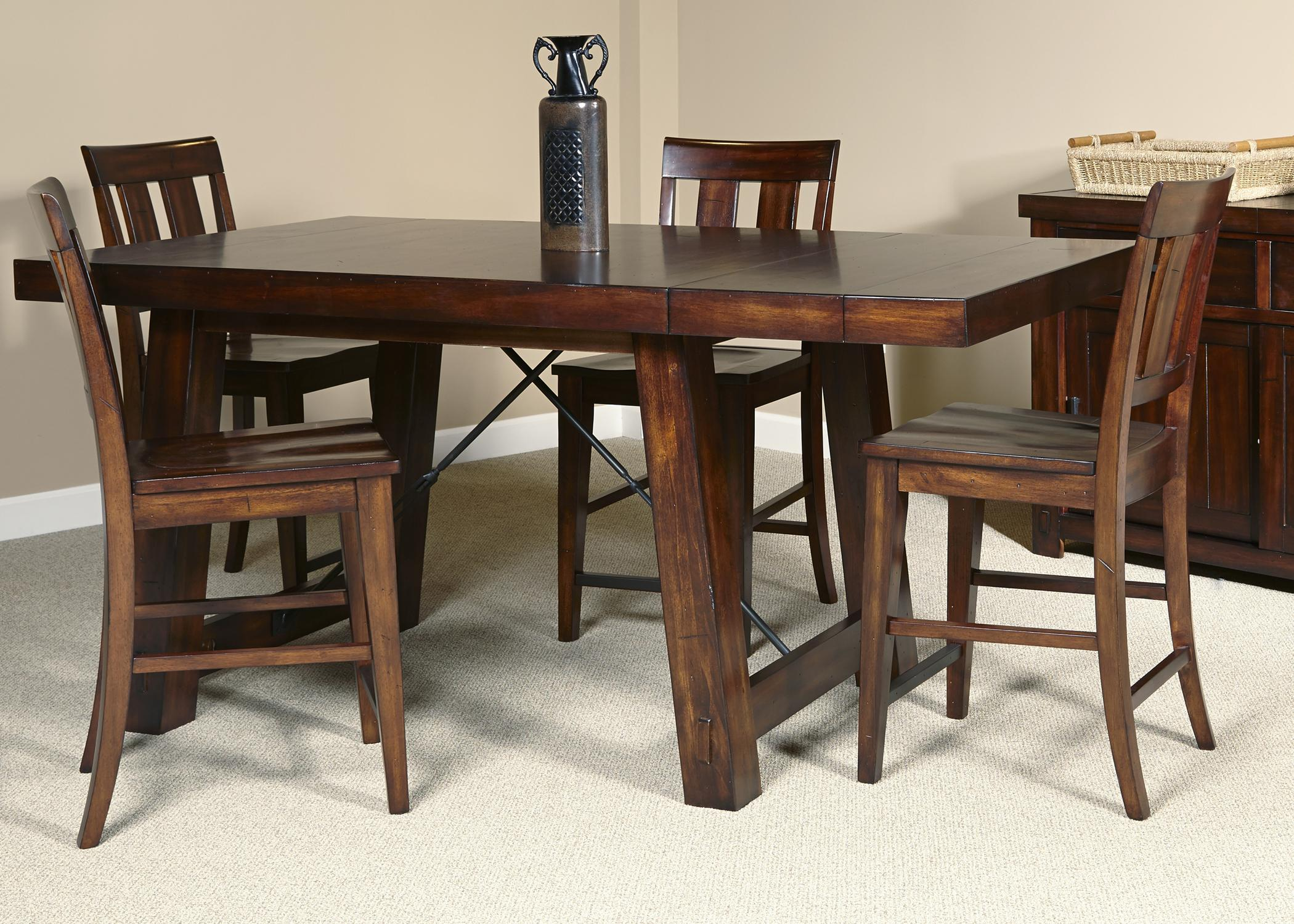 5 Piece Gathering Table With Slat Back Counter Height Chair Set