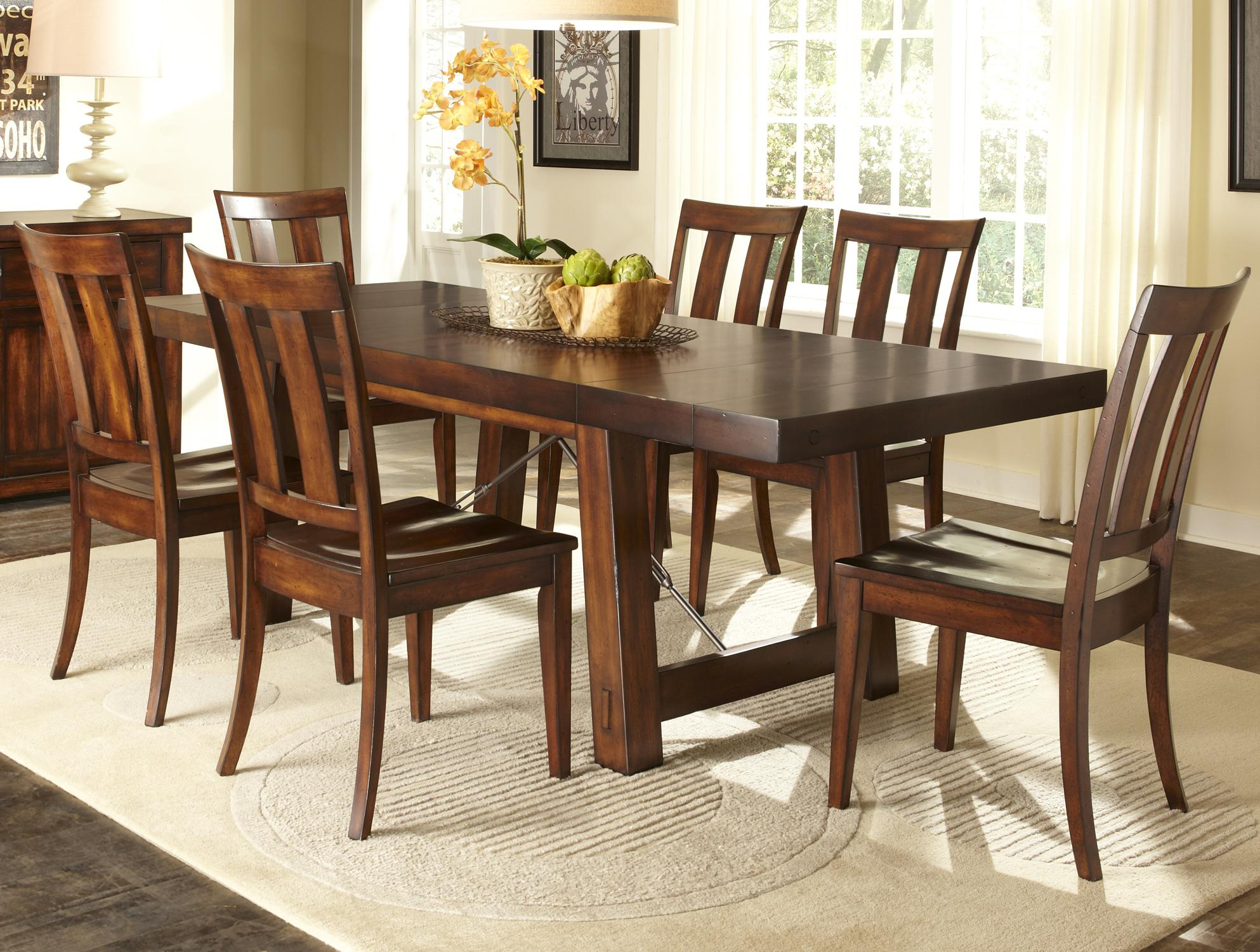 Good 7 Piece Dining Table With Slat Back Chair Set