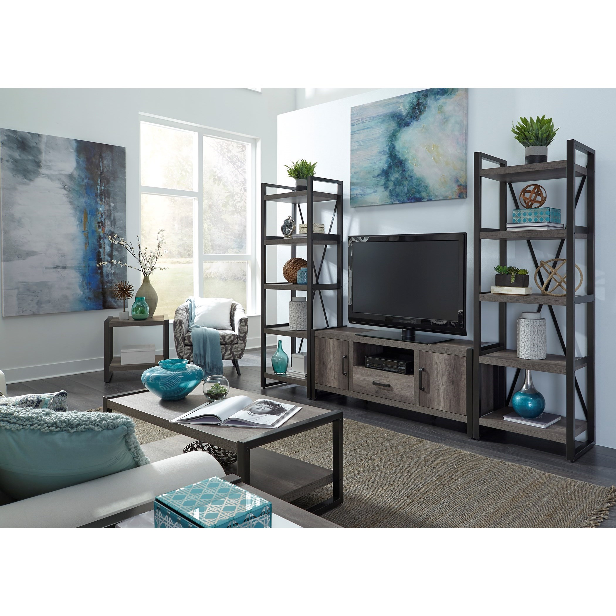 Contemporary Entertainment Center with Tall Piers