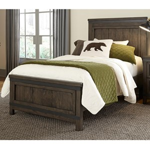 Rustic Twin Panel Bed with Hammered Metal Strip Accents