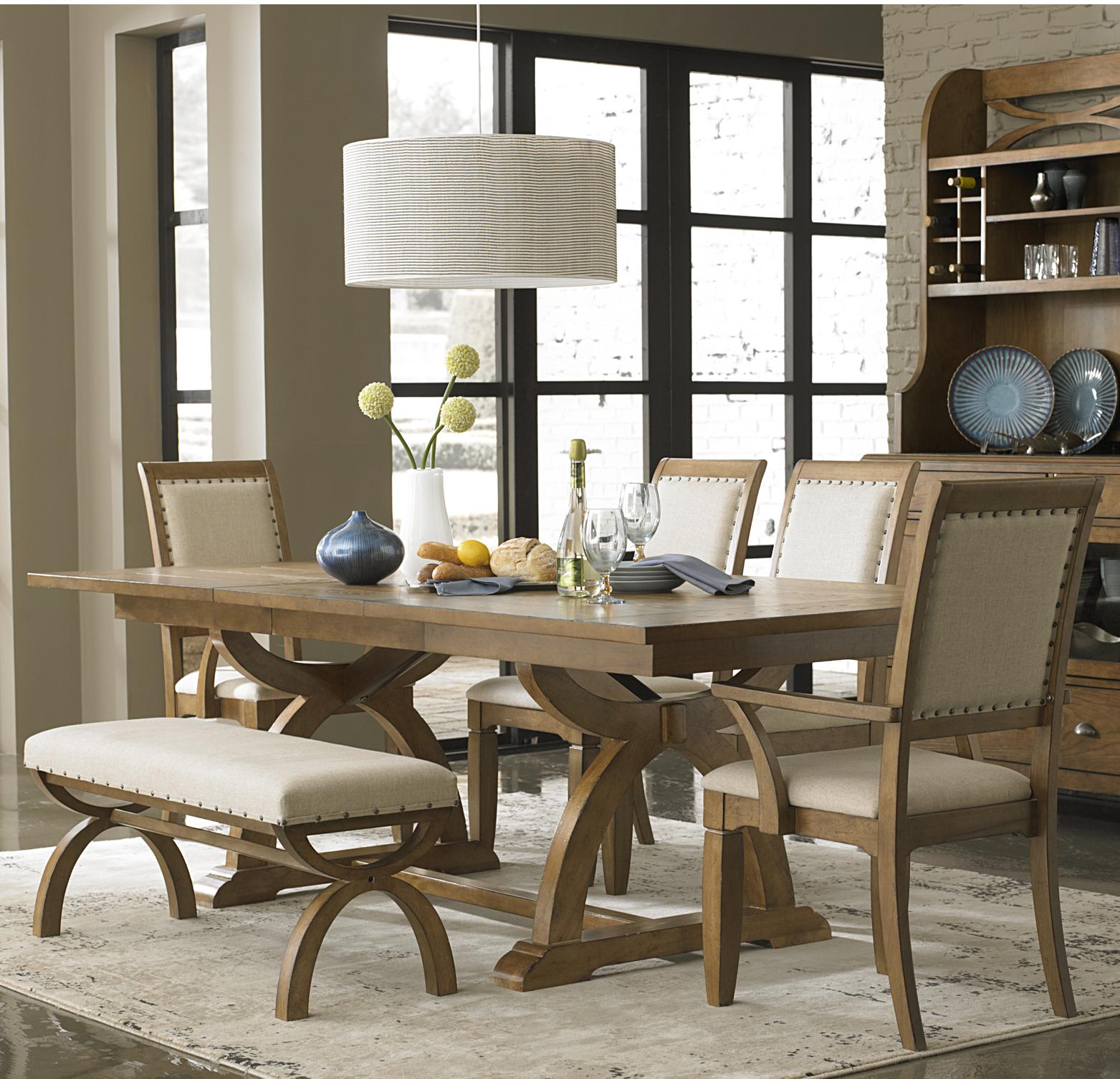 6 Piece Trestle Table Set with 4 Upholstered Chairs & Dining Bench ...