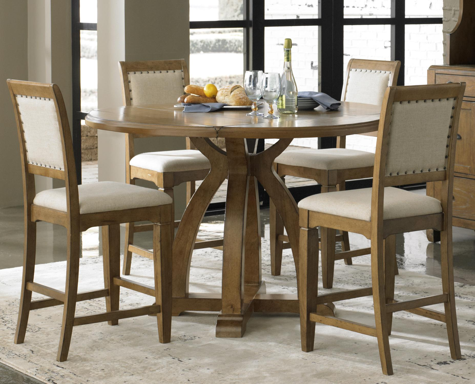 5 Piece Gathering Table Set With 4 Upholstered Counter Height Chairs