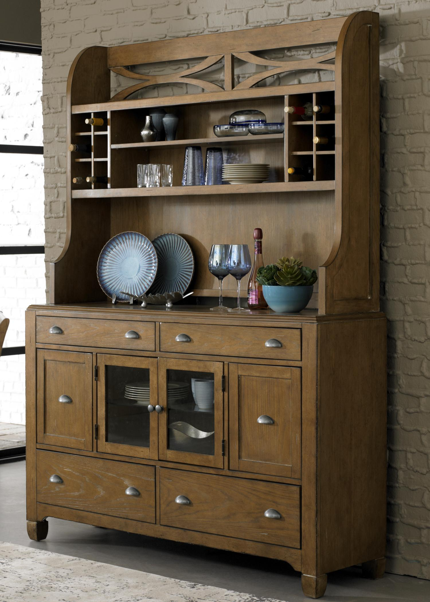By Liberty Furniture. Dining Hutch U0026 6 Drawer Buffet With Unique Curved X  Accents