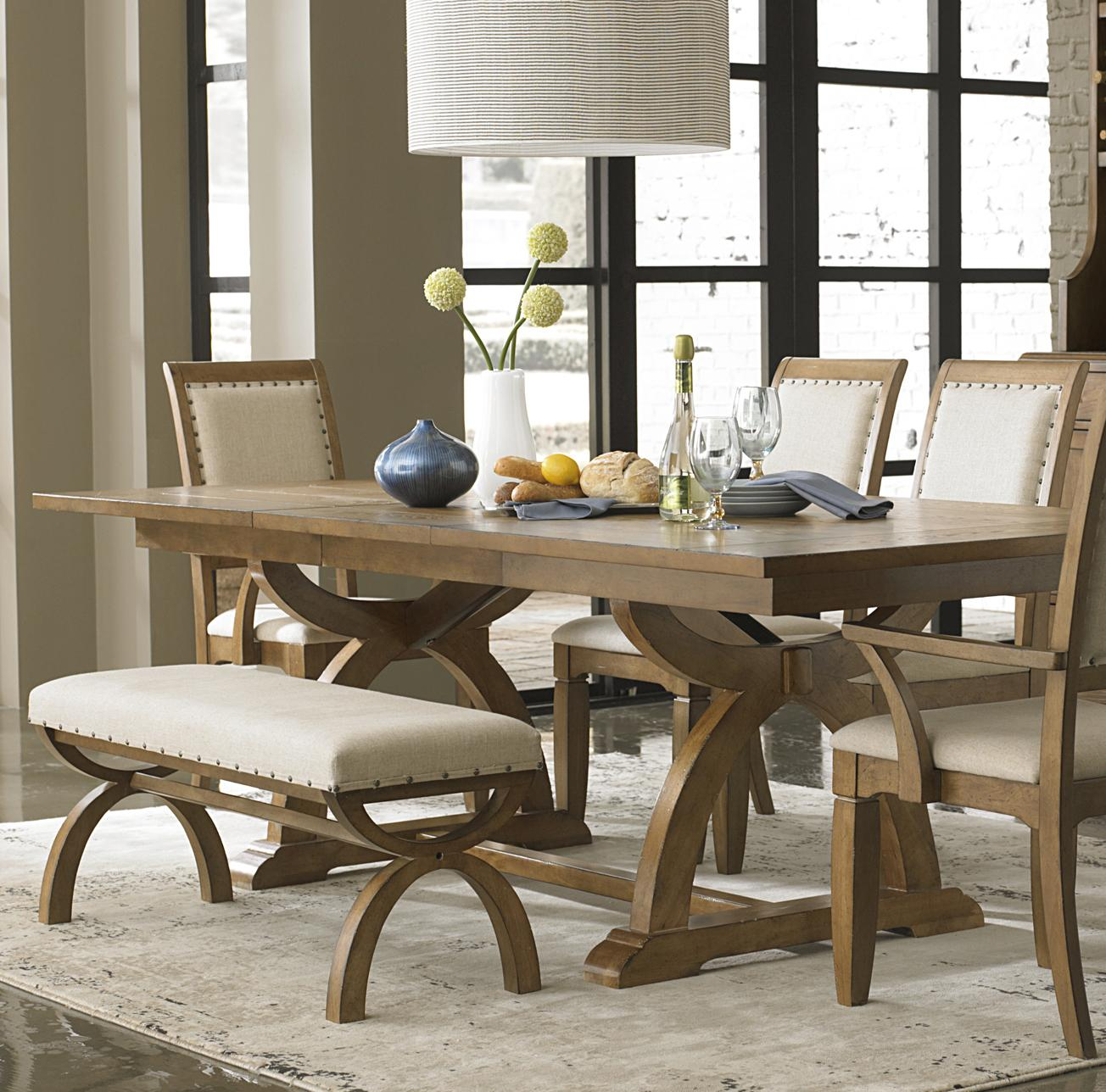 Trestle Dining Table With One 24 Inch Table Leaf