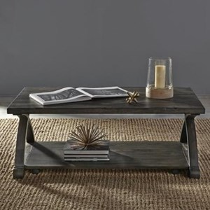 Rustic Cocktail Table with Bottom Shelf and Casters