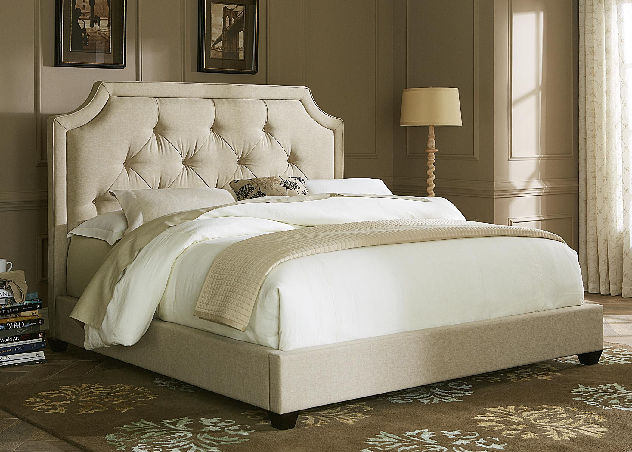 Superior Queen Upholstered Sloped Panel Bed