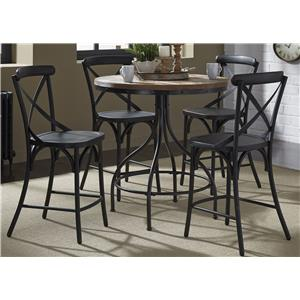 5-Piece Gathering Table and X-Back Counter Chair Set