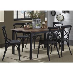 7-Piece Rectangular Leg Table and X-Back Chair Set