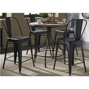 5-Piece Gathering Table and Bow Back Counter Chair Set